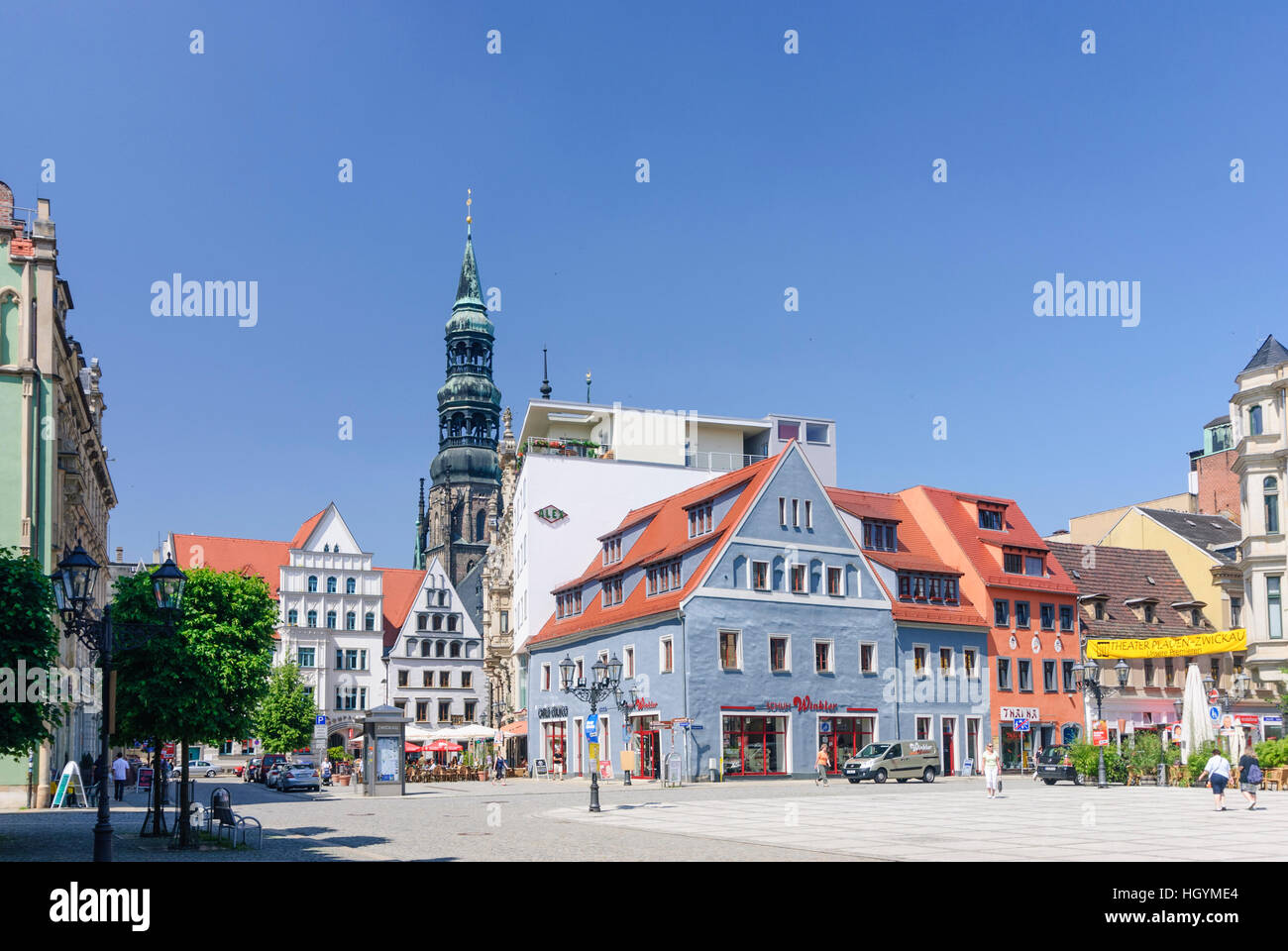 Zwickau: Main market with St. Mary's Cathedral, , Sachsen, Saxony, Germany Stock Photo