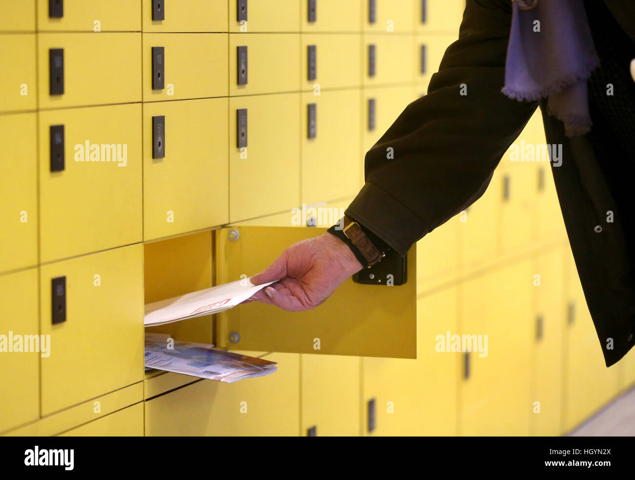Essen, Germany. 11th Jan, 2017. PO boxes in a post office in Essen, Germany, 11 January 2017. The German postal Stock Photo