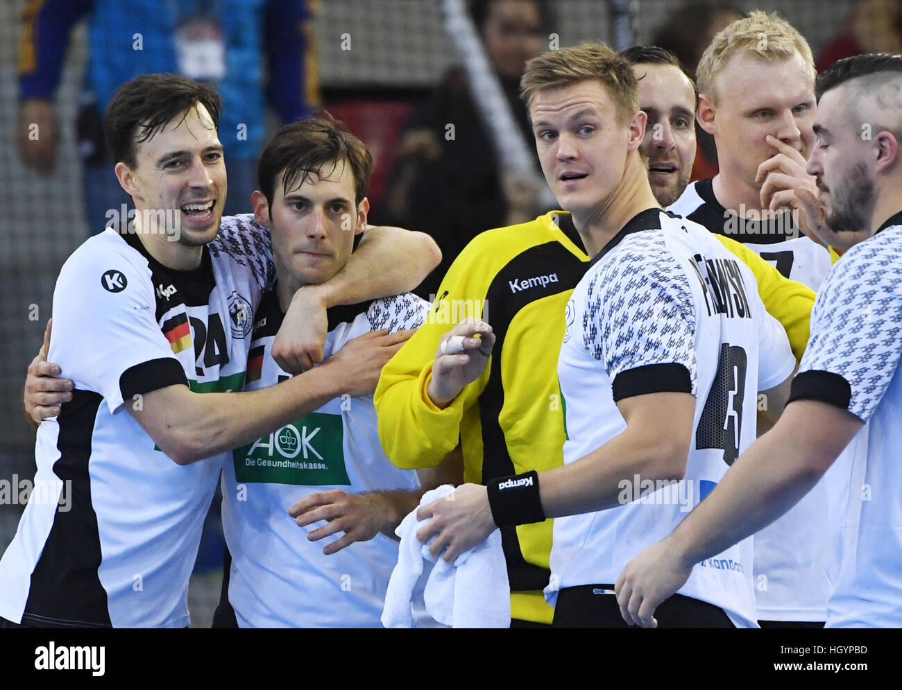 Rouen, France. 13th Jan, 2017. The Germany team celebrates its victory at the end of the men's handball World - Stock Image