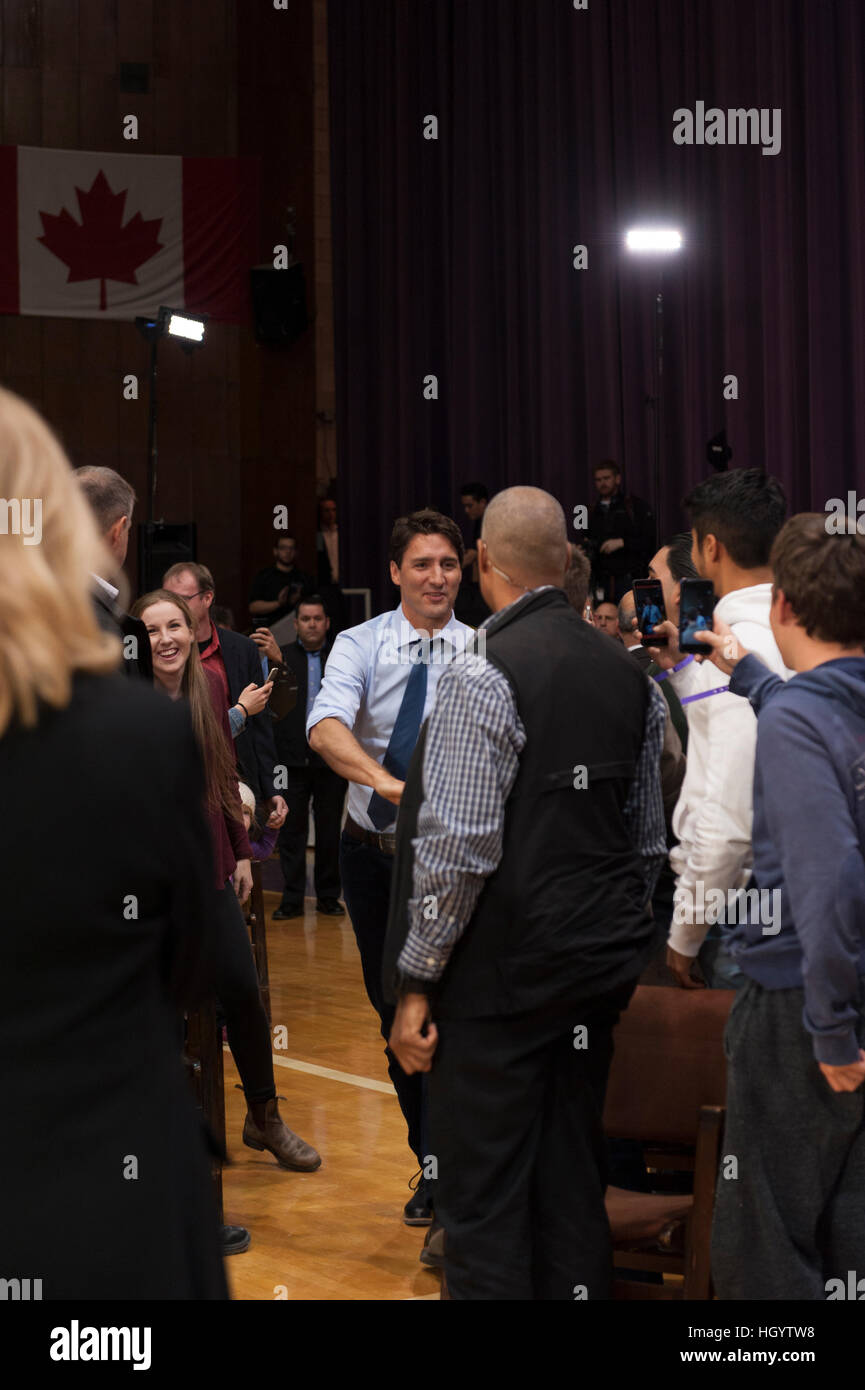 London, Canada, 13th January, 2017. Justin Trudeau, Prime Minister of Canada, arriving at a town hall Q&A in - Stock Image