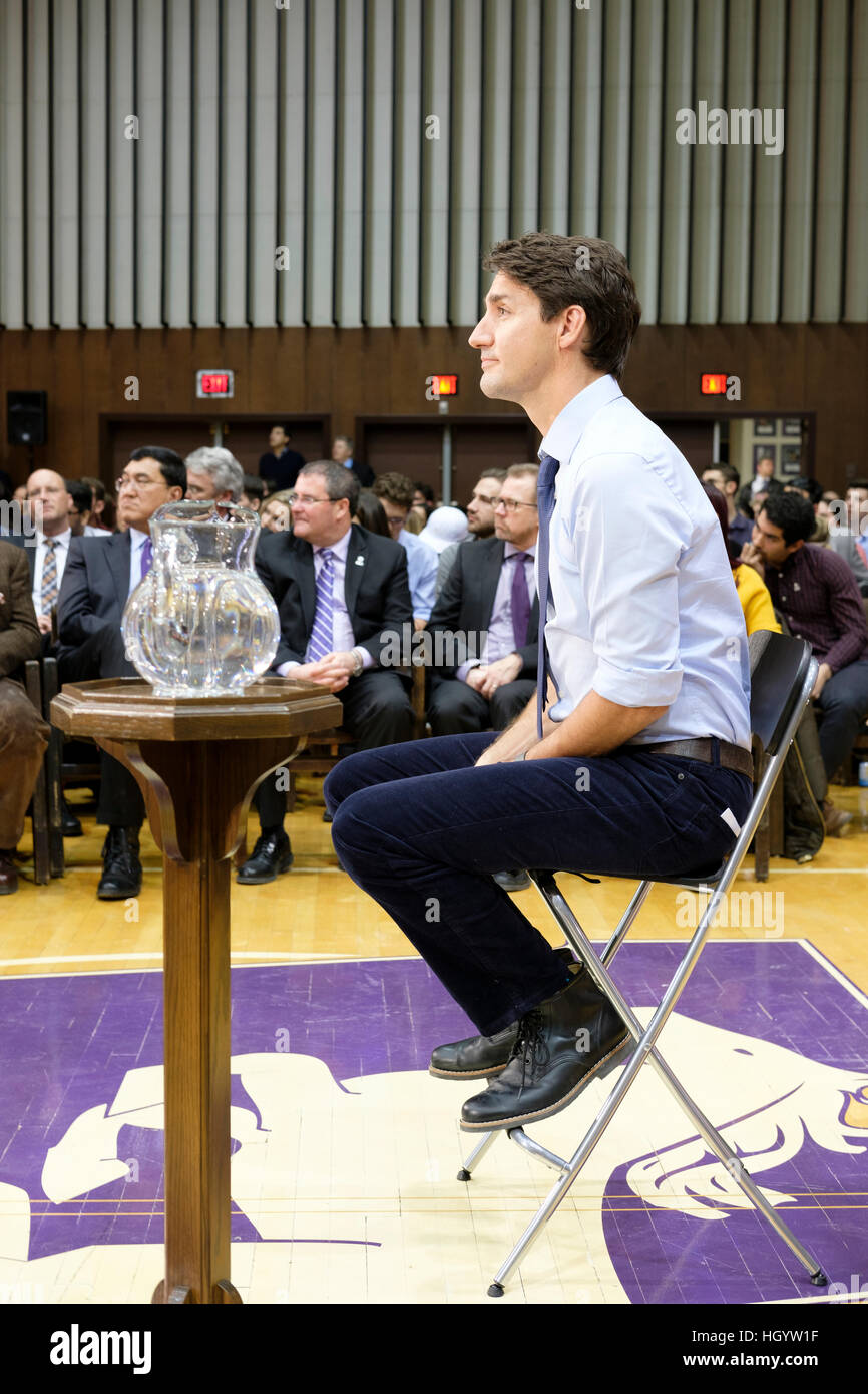 London, Ontario, Canada, 13th January, 2017. Justin Trudeau, Prime Minister of Canada, listens to a question in Stock Photo