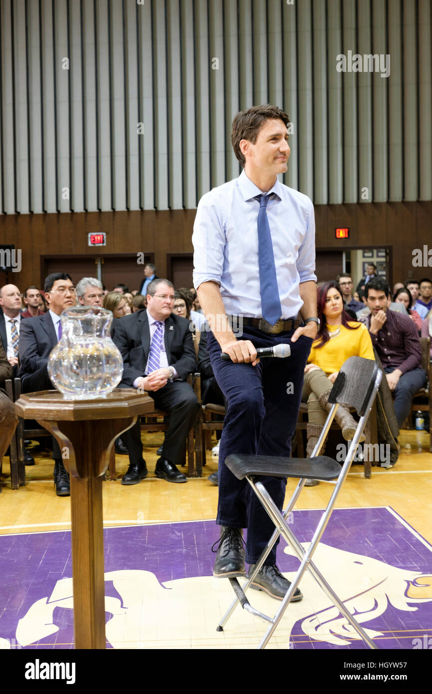 London, Ontario, Canada, 13th January, 2017. Justin Trudeau, Prime Minister of Canada, participates in a town hall Stock Photo
