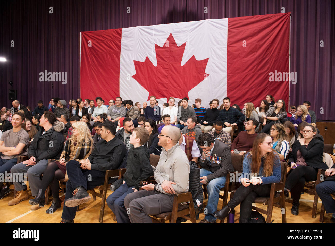 London, Ontario, Canada, 13th January, 2017. Members of the audience wait for the Prime Minister of Canada, before Stock Photo