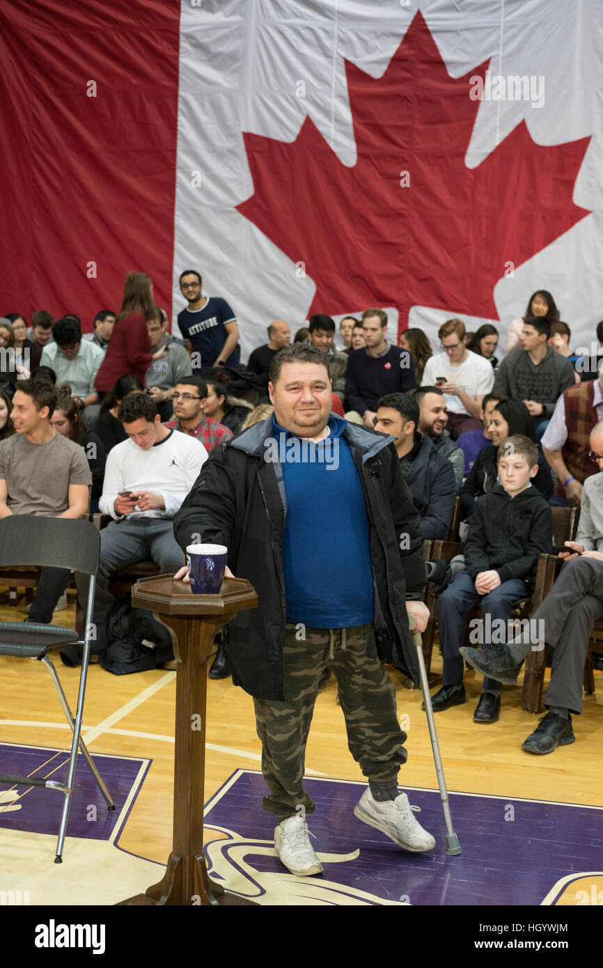 London, Ontario, Canada, 13th January, 2017. A member of the audience stands beside the stand reserved for the Prime - Stock Image