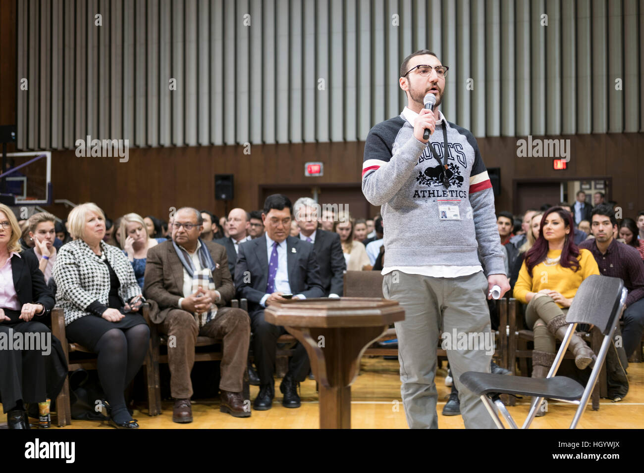 London, Ontario, Canada, 13th January, 2017. An organizer instructs the members of the audience about the rules Stock Photo