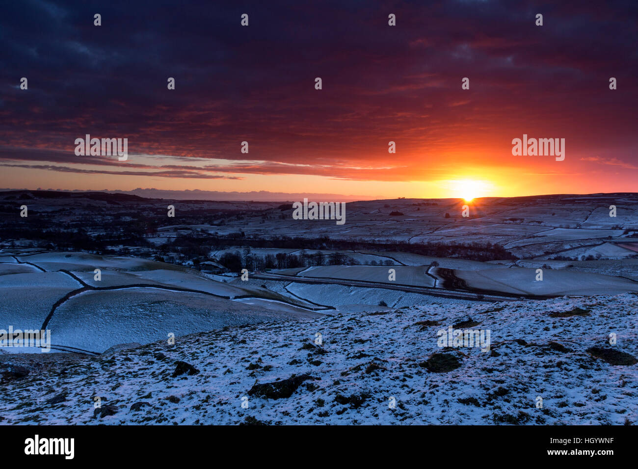 Kirkcarrion, Teesdale, County Durham UK. Saturday 14th January 2017. UK Weather.  It was a frosty and snowy start - Stock Image