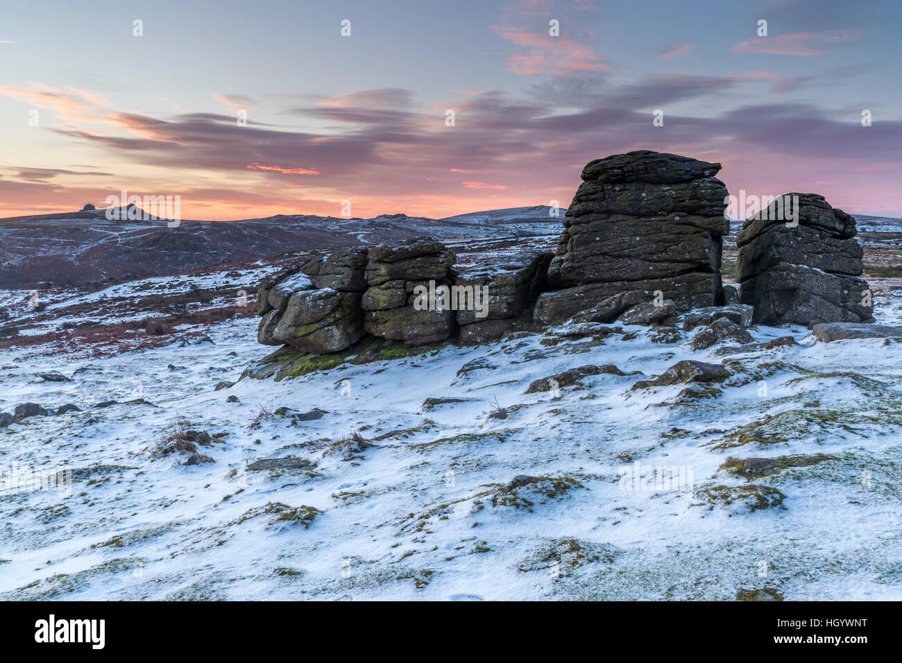 Devon, England. 14th Jan, 2017. Dartmoor seen from Hound Tor near Manaton. © Sebastian Wasek/Alamy Live News - Stock Image