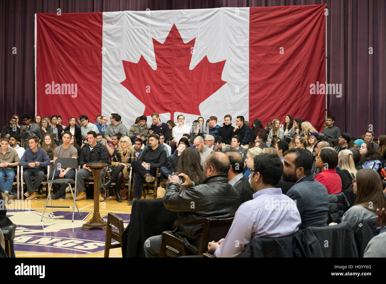 London, Ontario, Canada, 13th January, 2017. Members of the audience wait for the Prime Minister of Canada, before - Stock Image