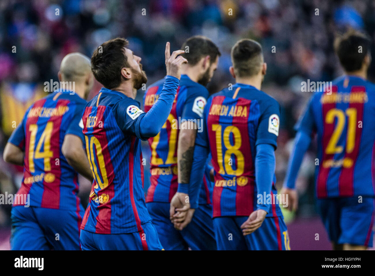 Barcelona, Catalonia, Spain. 14th Jan, 2017. FC Barcelona forward MESSI celebrates his goal with teammates during - Stock Image