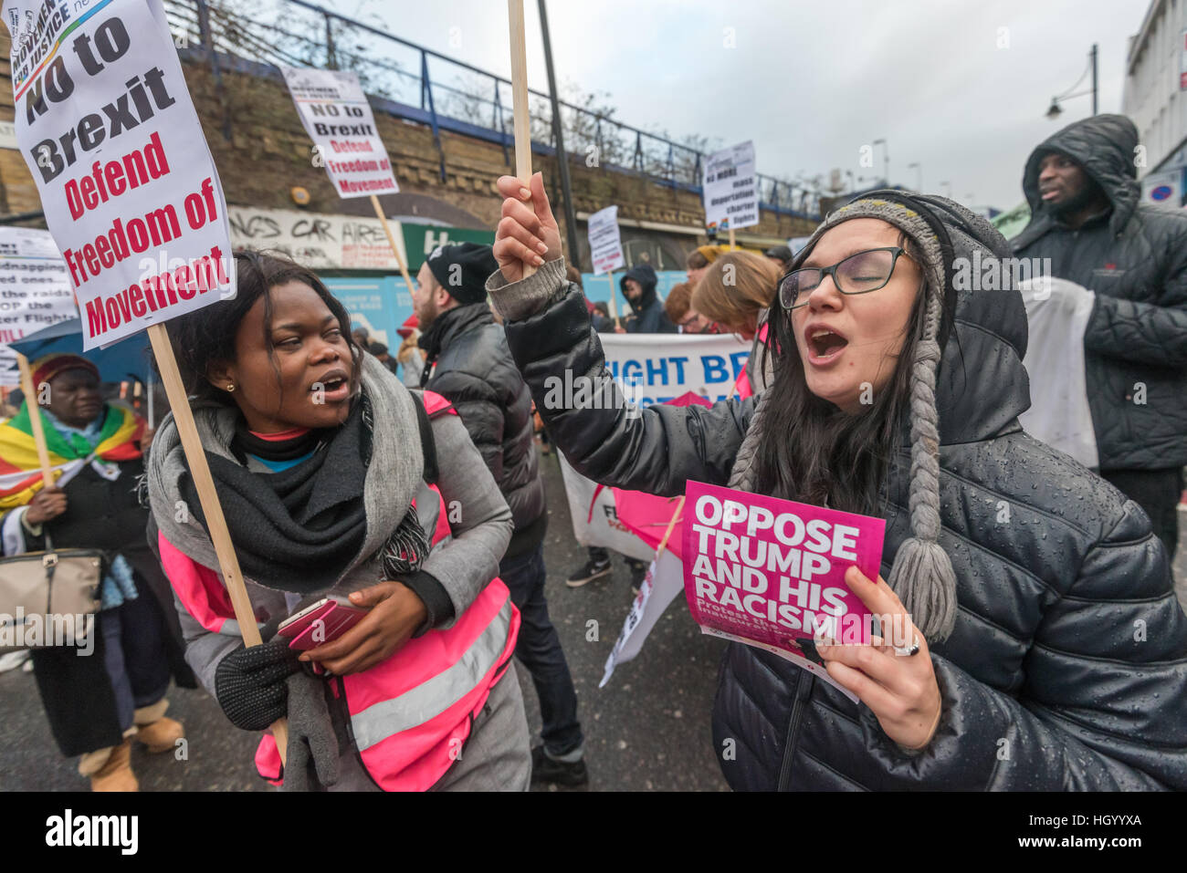 London, UK. 14th January 2017. Movement for Justice led a march through Brixton communities building the fight against - Stock Image