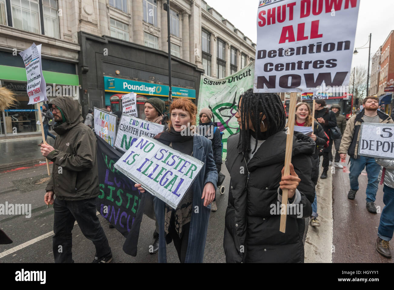 London, UK. 14th January 2017. Sisters Uncut support the Movement for Justice march through Brixton communities - Stock Image