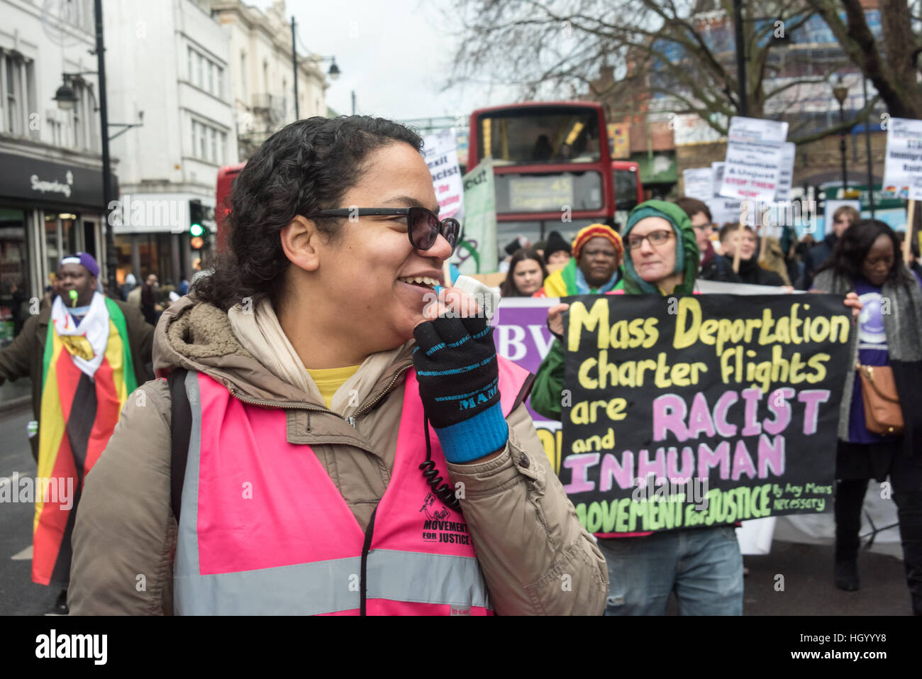 London, UK. 14th January 2017. Antonia Bright at the front of the Movement for Justice march through Brixton communities - Stock Image