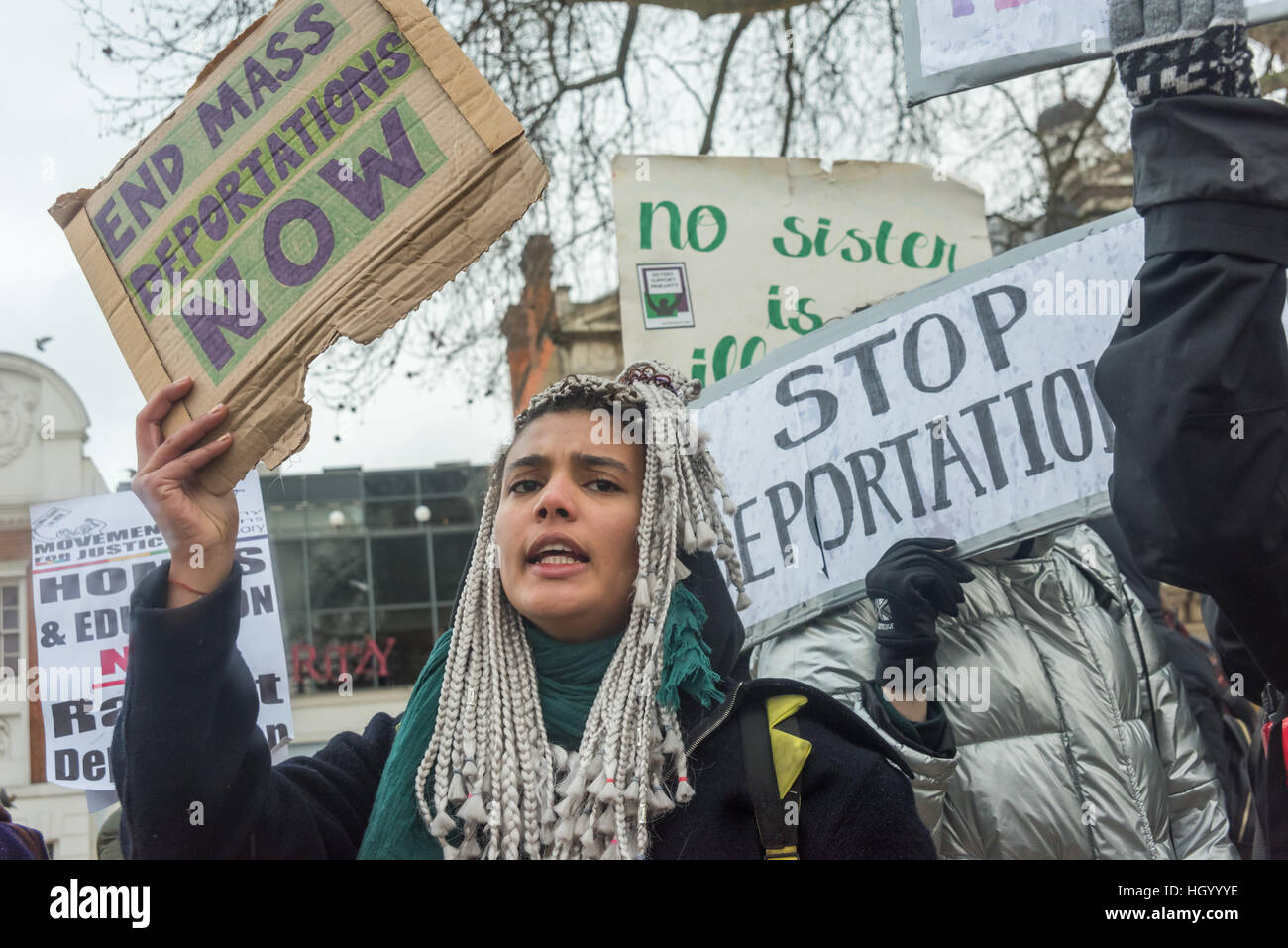 London, UK. 14th January 2017. Sisters Uncut at the rally at the end of the Movement for Justice march through Brixton - Stock Image