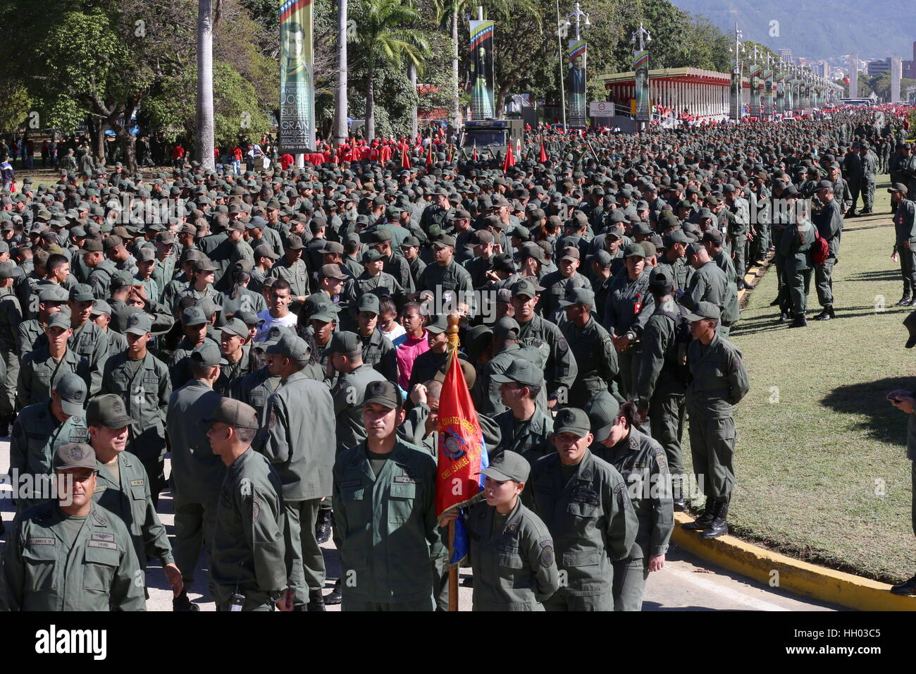 Caracas, Venezuela. 14th Jan, 2017. Military members participate in the Zamora 200 Anti-Imperialist Integral Action - Stock Image