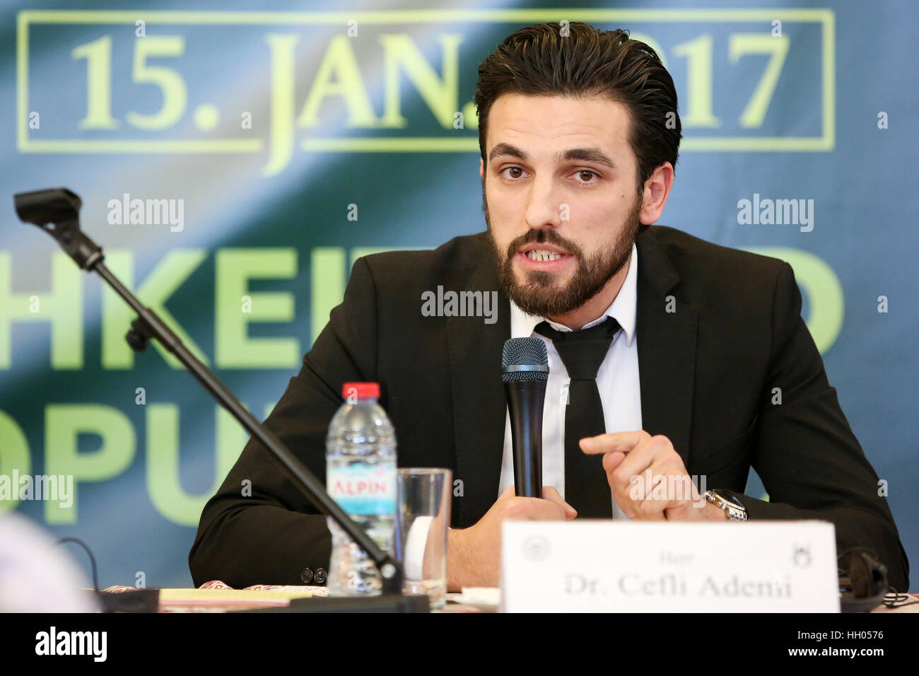 Hamburg, Germany. 15th Jan, 2017. Cefli Ademi of the University of Muenster speaks during a conference of the Shura, Stock Photo