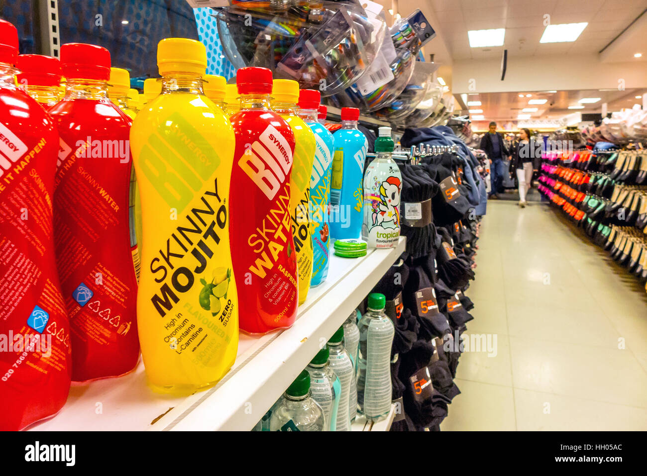 Soft drinks, including mojito-flavoured water, on sale at Primark Stores in Brighton - Stock Image