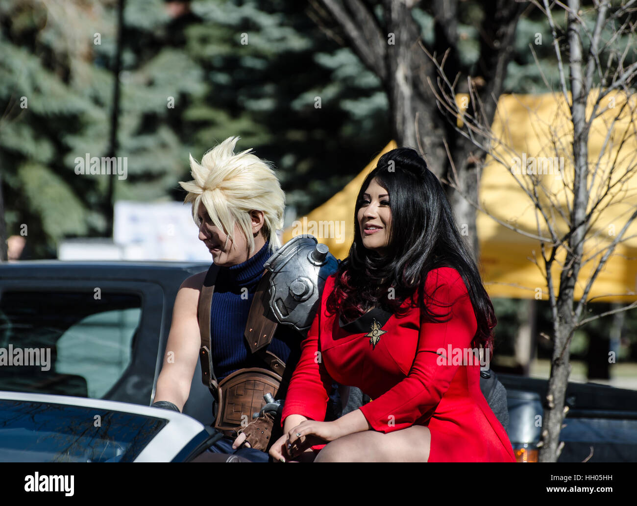 Calgary, Alberta, Canada - April 17 2015: Star Trek and Final Fantasy cosplay at the parade of wonders Calgary Comic - Stock Image