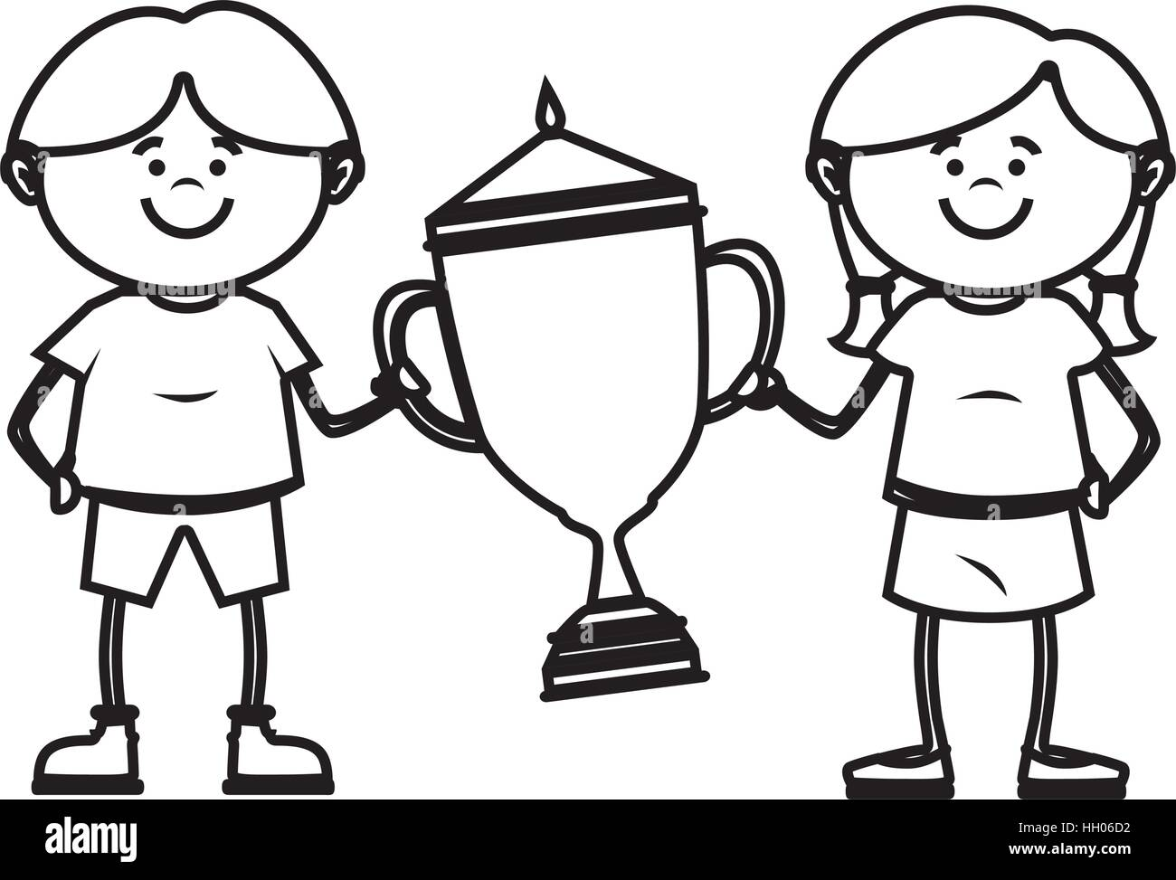 Little Kid With Champion Trophy Vector Illustration Design