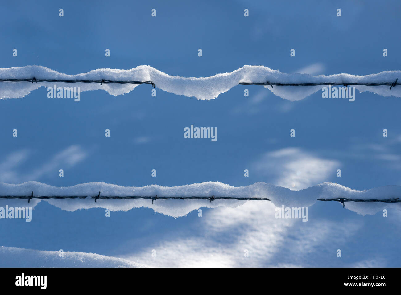 Barbed wire fence with snow, Wallowa Mountains, Oregon. - Stock Image
