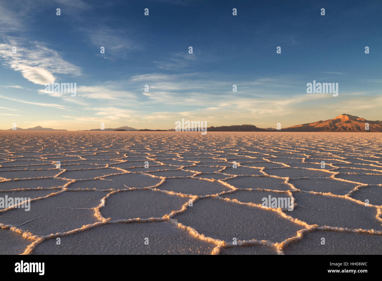Salt Lake Salar de Uyuni in the afternoon sun, Bolivia - Stock Image
