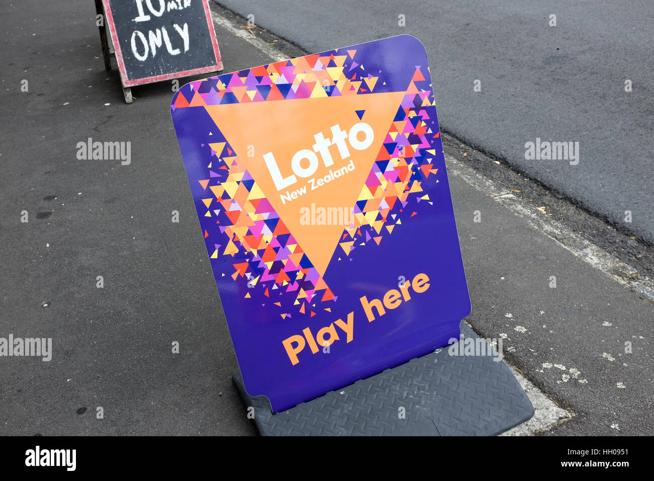 An ad for New Zealand's lottery. - Stock Image