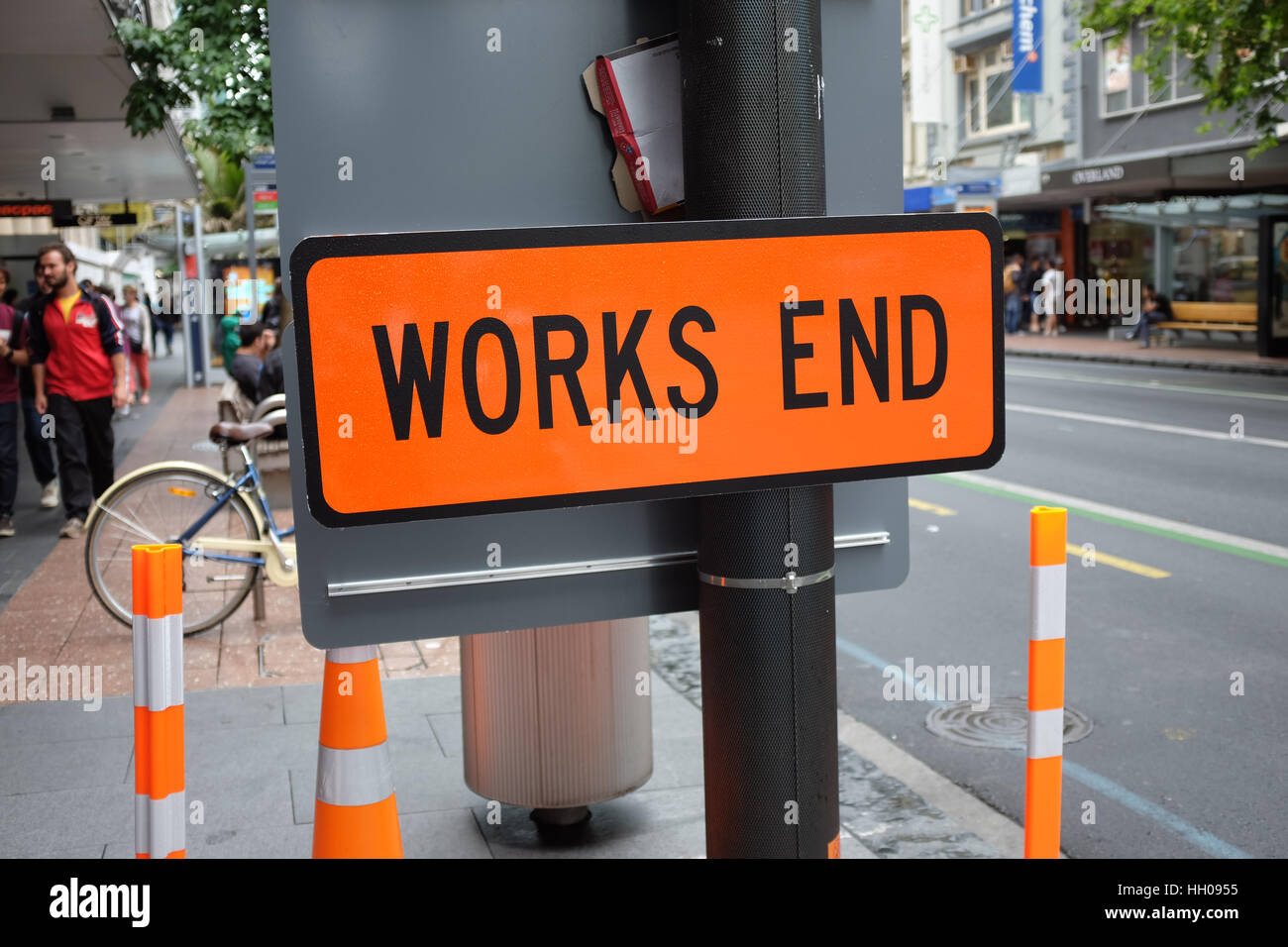 A 'works end' sign. - Stock Image