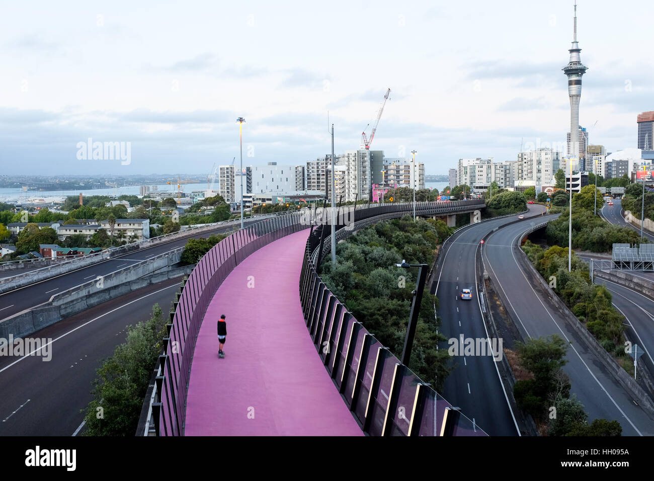 The Nelson Street Cycleway linking the Upper Queen Street bridge and Quay Street in Auckland, New Zealand. - Stock Image