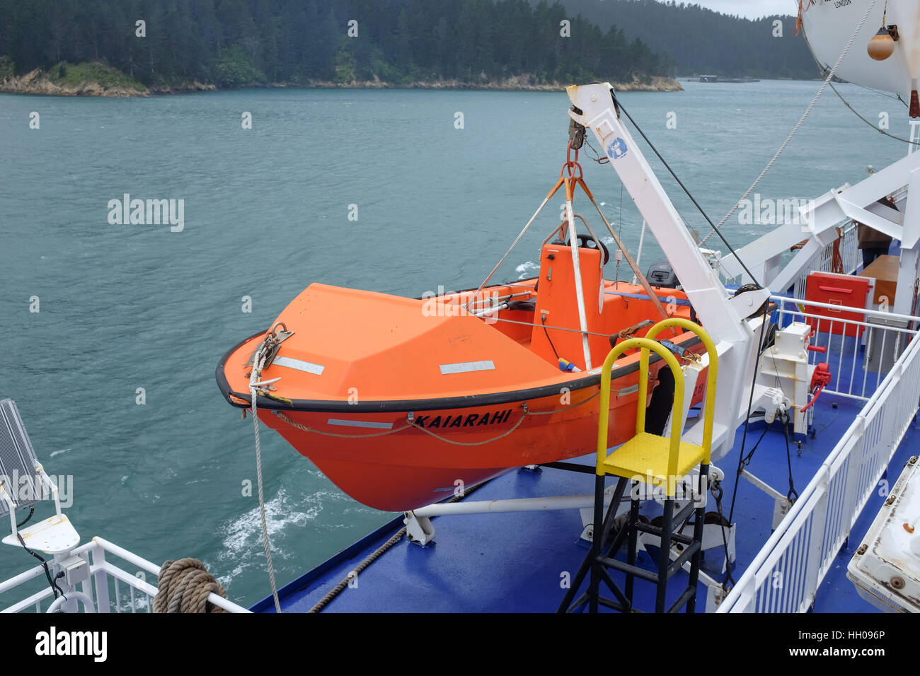 A lifeboat on the Kaiarahi Interislander ferry in New Zealand. - Stock Image