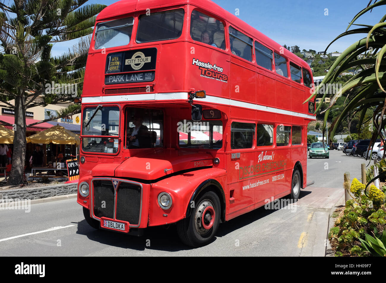 A London double-decker bus used for tourists trips in Christchurch, New Zealand. - Stock Image