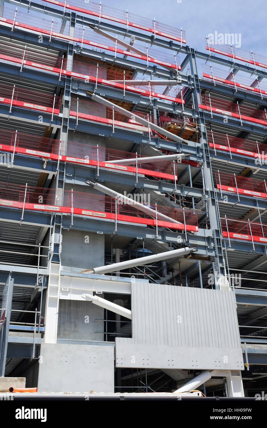 A new building in the New Zealand city of Christchurch being built to withstand earthquakes. - Stock Image