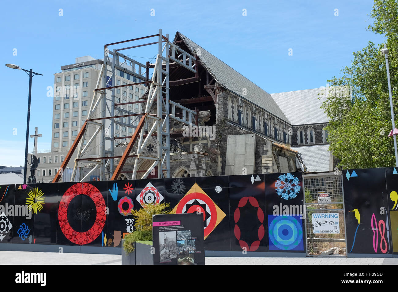 New Zealand's Christchurch Cathedral, badly damaged in an earthquake in 2011. - Stock Image