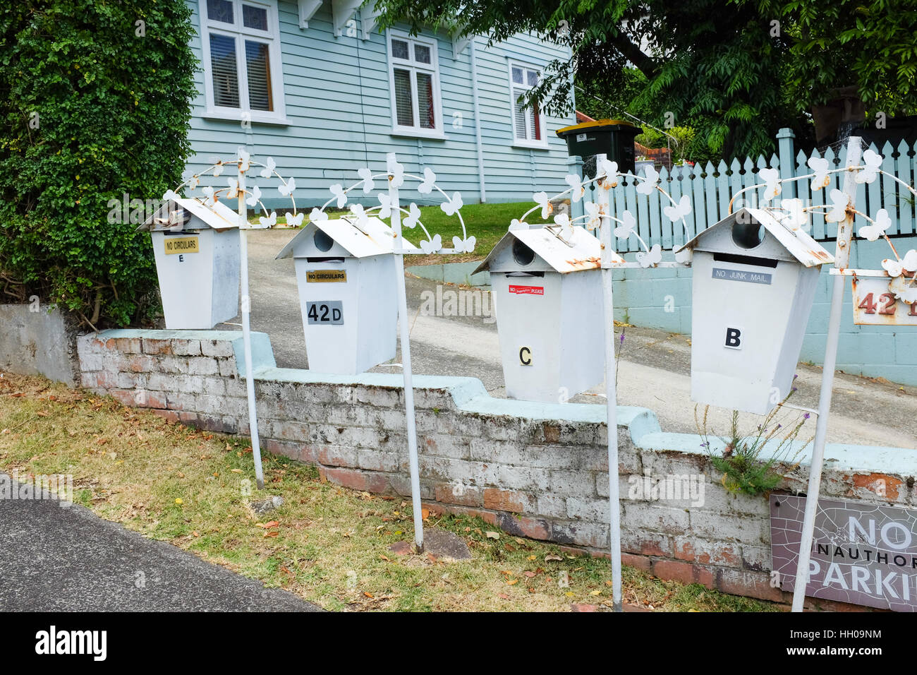 Mailboxes in New Zealand. - Stock Image