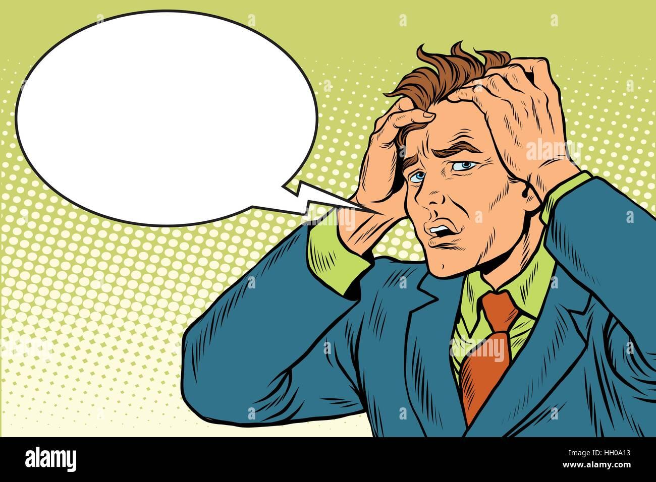 Headaches men severe pain - Stock Vector