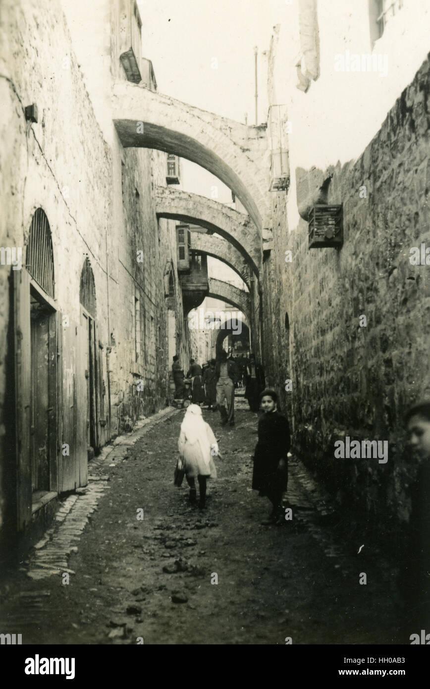 Walking the Via Dolorosa and Stations of the Cross,Jerusalem, Palestine, Bethlehem, Palestine, Israel, October 1946, - Stock Image
