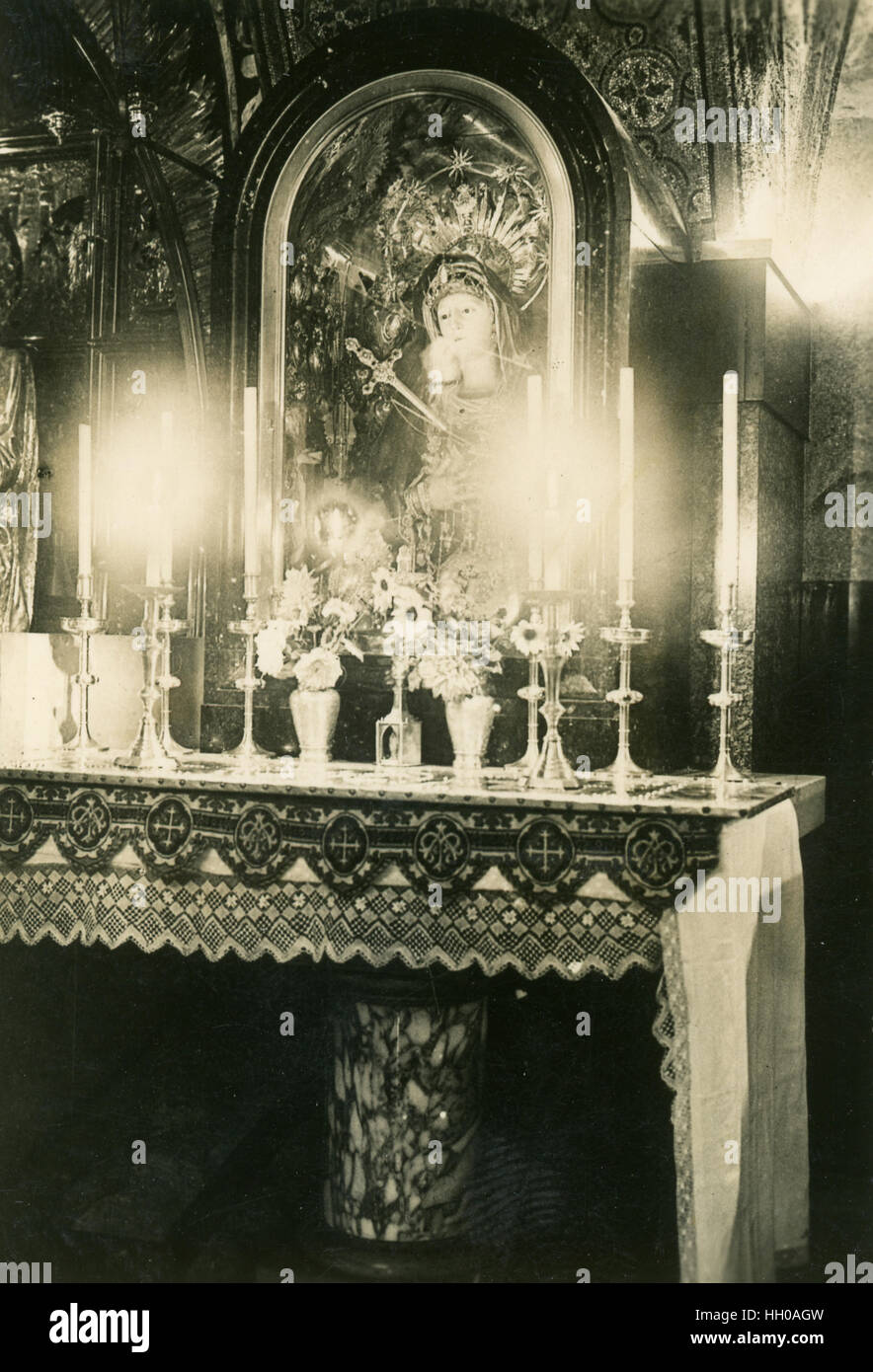 Stabat Mater Altar, Calvary, XIII, Station, Jerusalem, Palestine, Israel, 1946,West Bank, Historical Images, Black Stock Photo