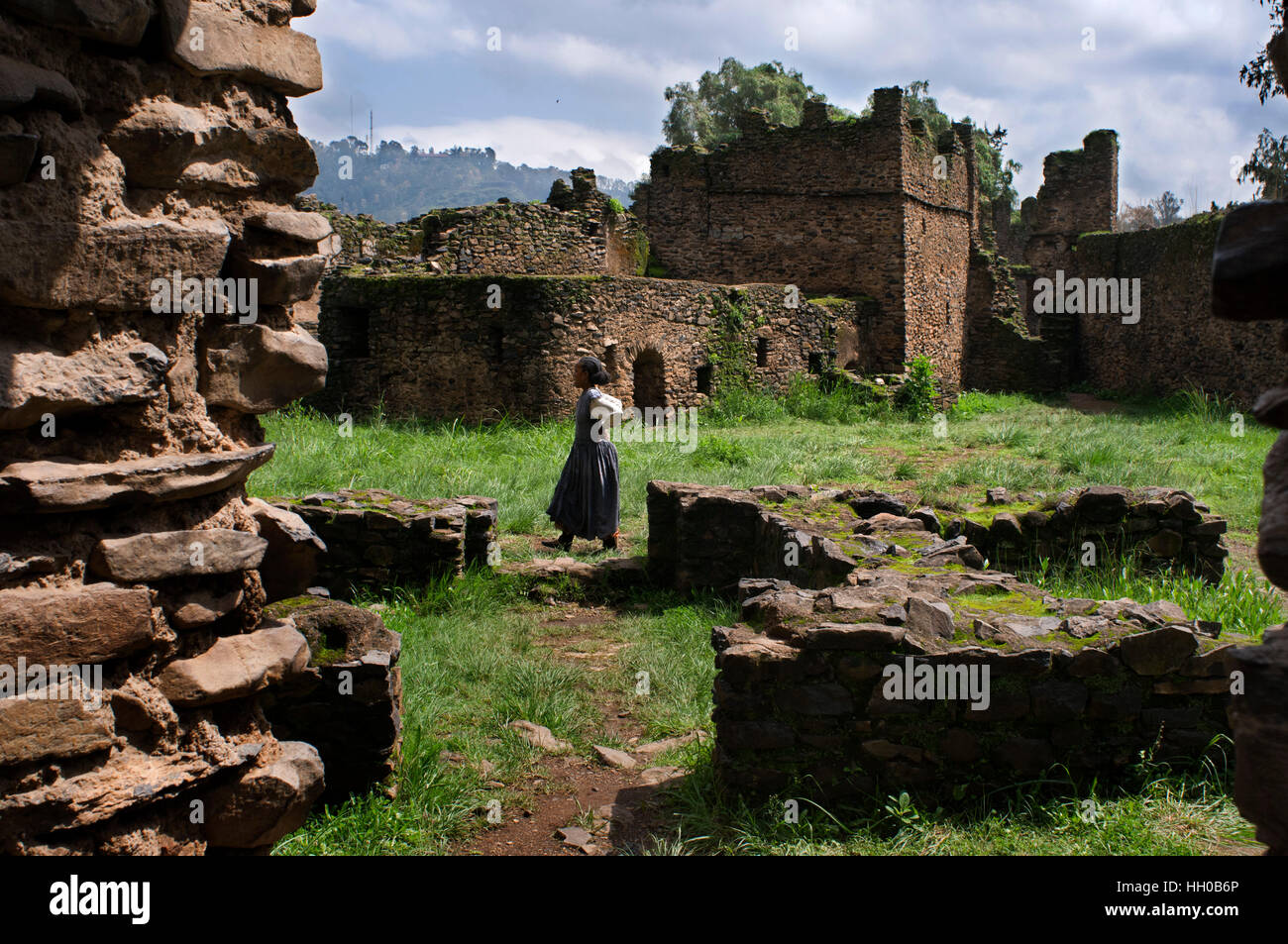 Royal Enclosure castle and other historical monuments Gondar Stock