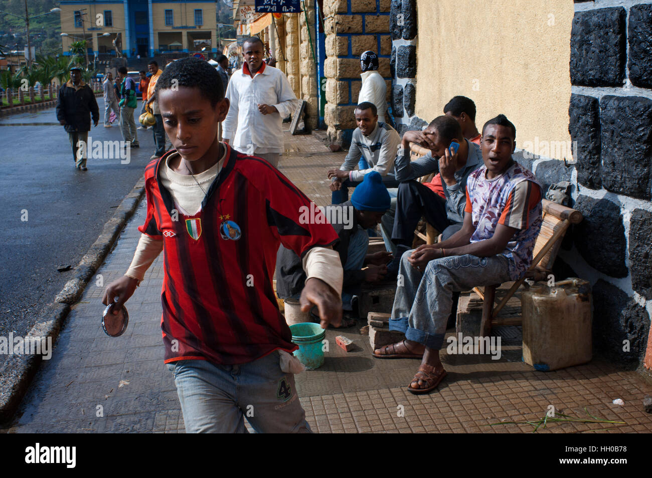 Street scene in Gondar city, Ethiopia. Gondar is one of the most wonderful sites in the world. Not only for its - Stock Image