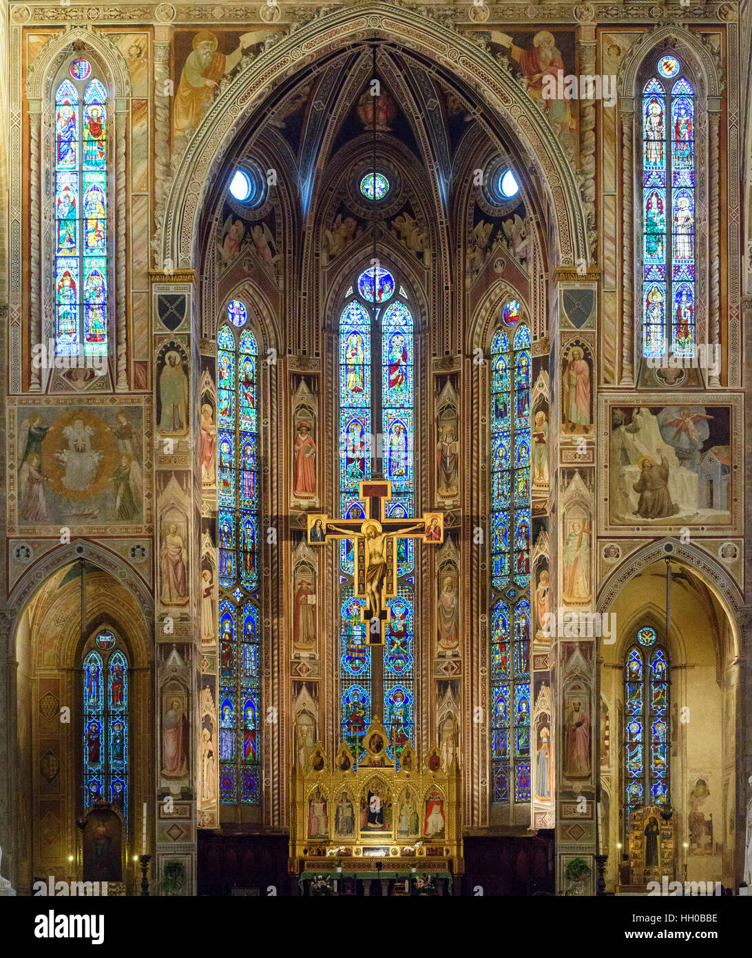 Florence. Italy. Basilica di Santa Croce, the Cappella Maggiore (Main choir chapel), decorated with frescoes by - Stock Image