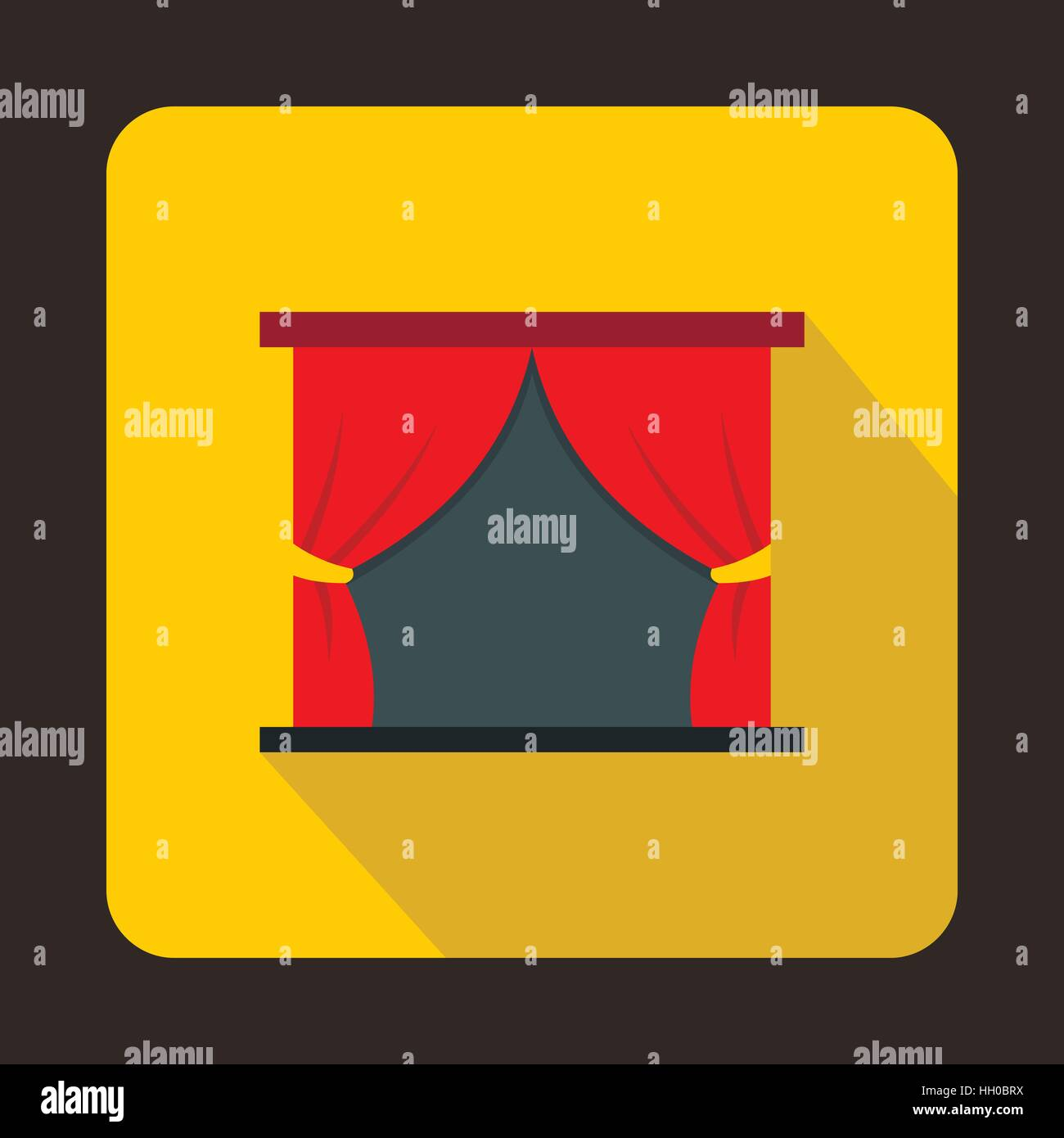 Theater stage with a red curtain icon - Stock Vector