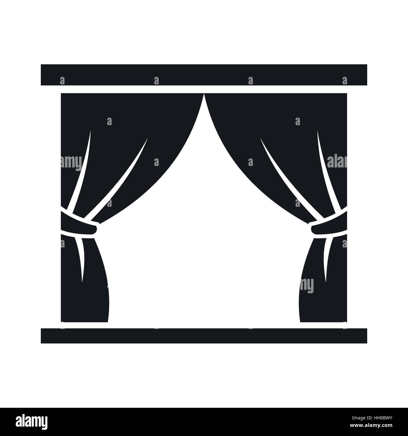 Curtain on stage icon, simple style - Stock Vector