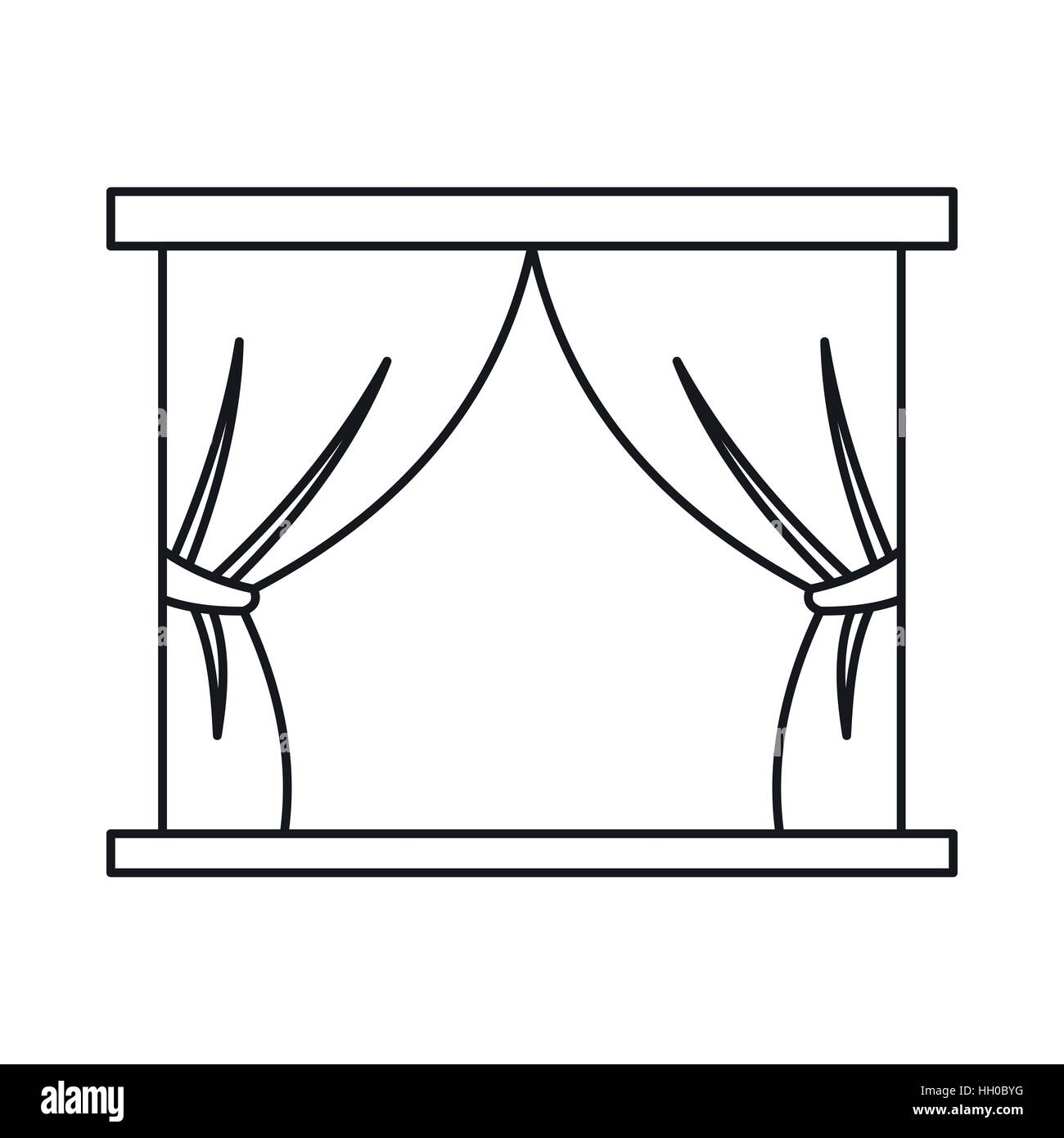 Stage curtains icon in outline style - Stock Vector