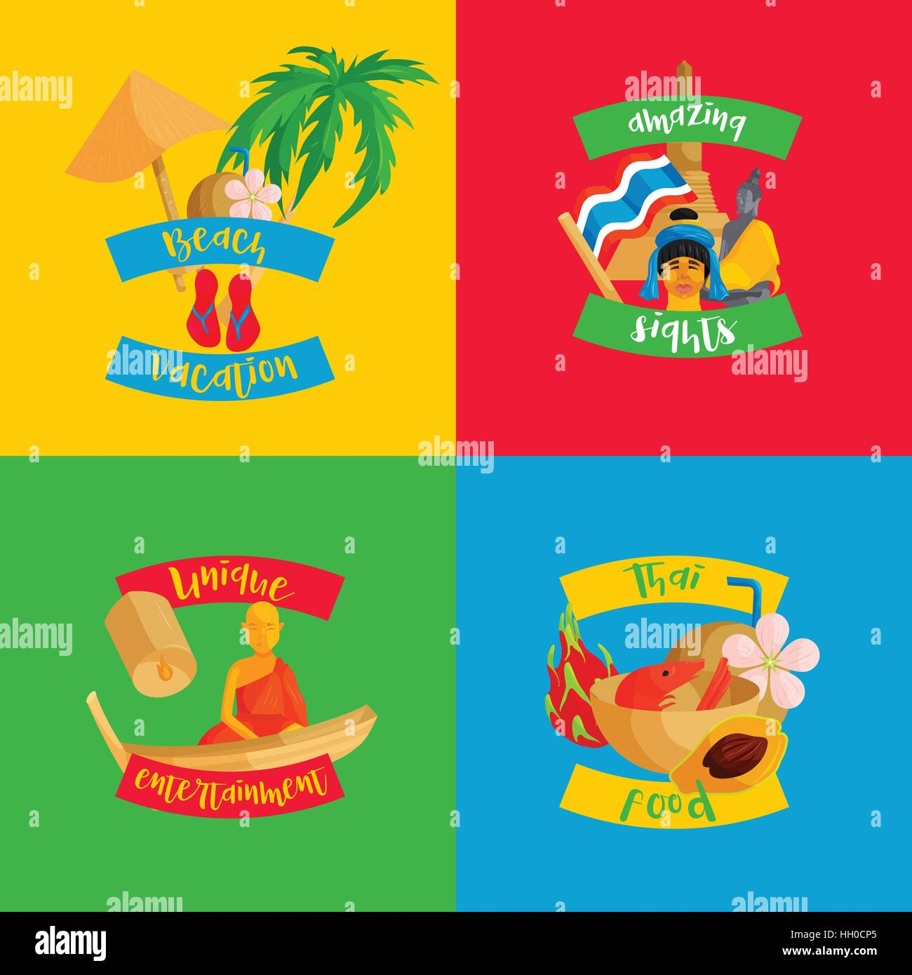 Thailand banners set, flat style - Stock Vector