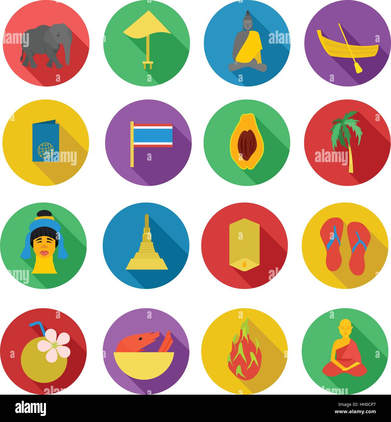 Thailand icons set, flat style - Stock Vector