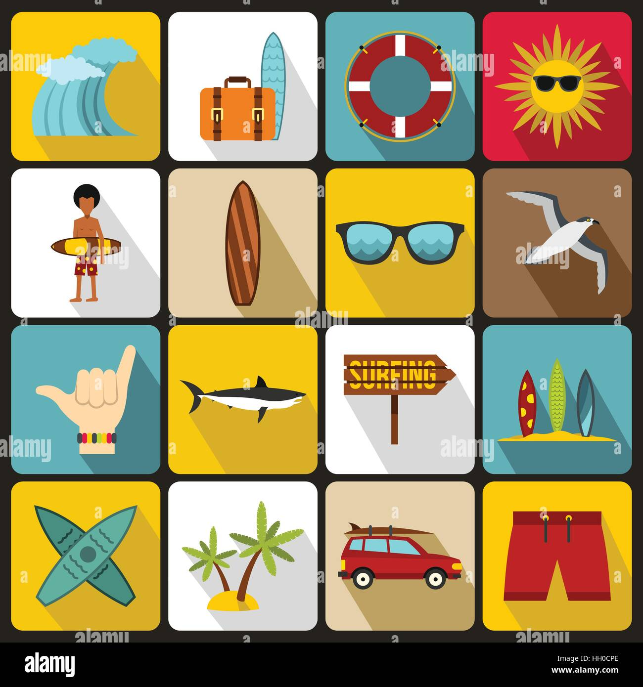 Surfing icons set, flat style - Stock Vector