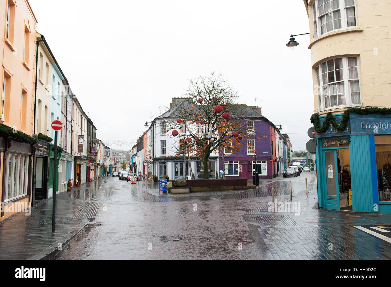 The colourful shopfronts in Clonakilty, West Cork, Ireland which is a tourist destination on the wild atlantic way. - Stock Image
