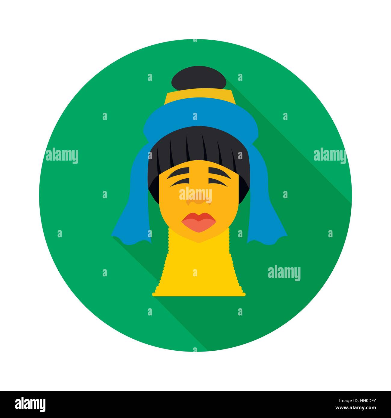 Karen long neck woman with traditional coils icon - Stock Image