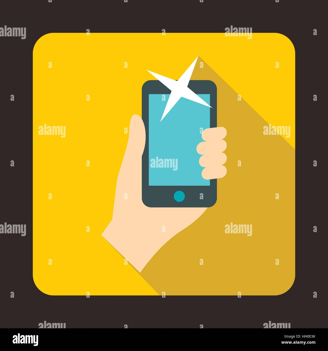 Hand photographed on a mobile phone icon - Stock Vector