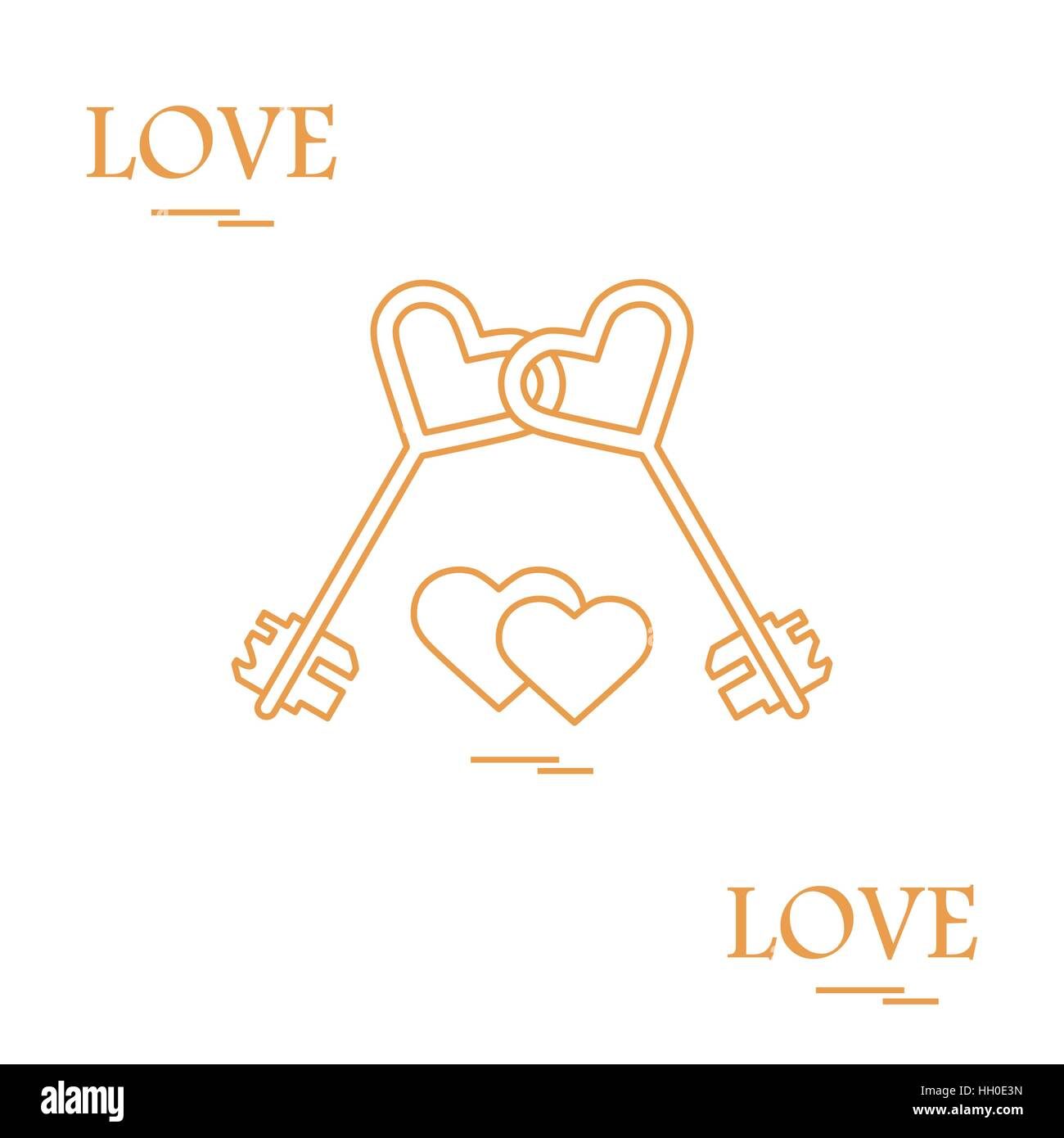 Cute Vector Illustration Of Love Symbols Heart Key Icon And Two