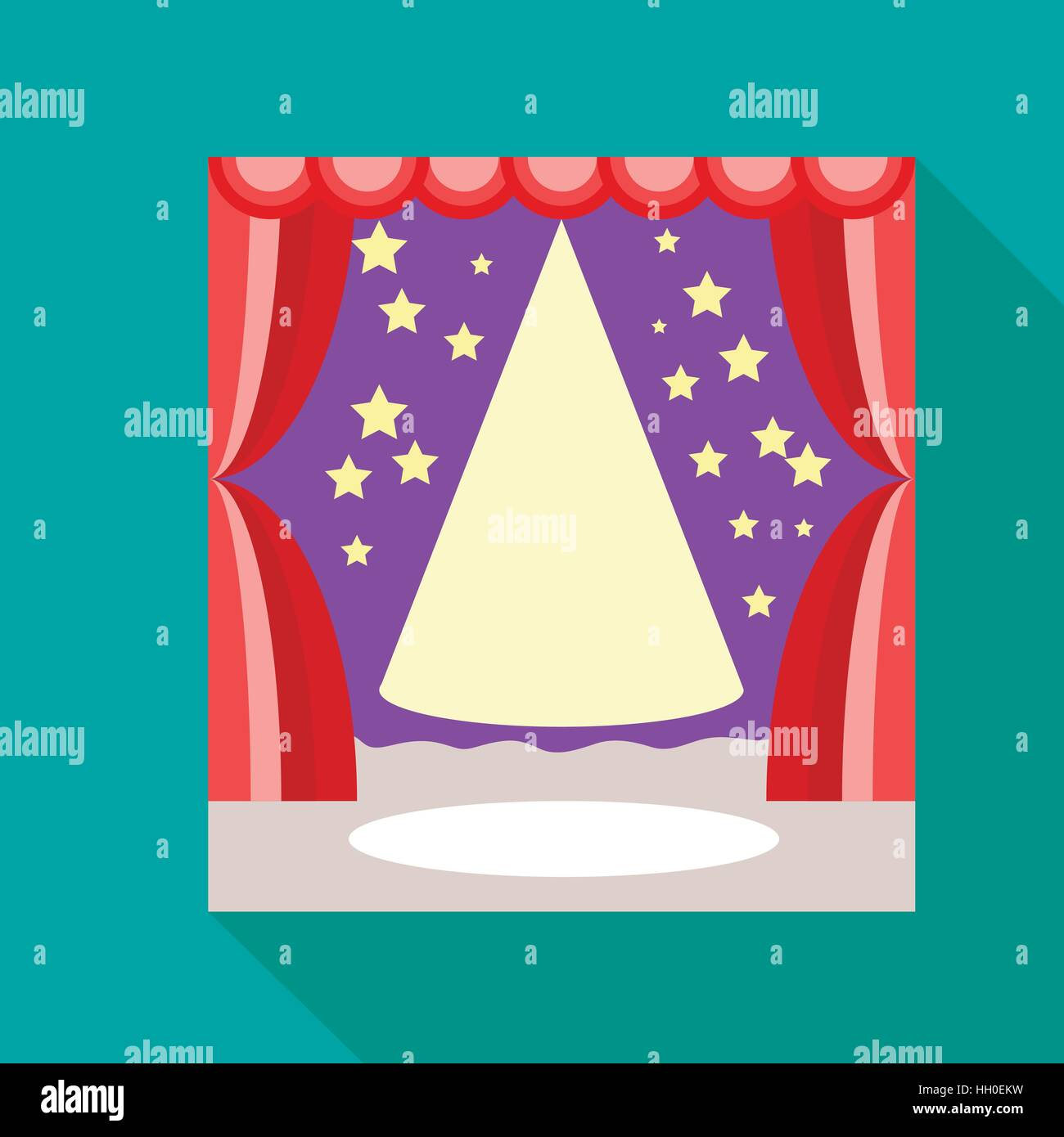 Empty scene with stage curtain icon, flat style - Stock Vector
