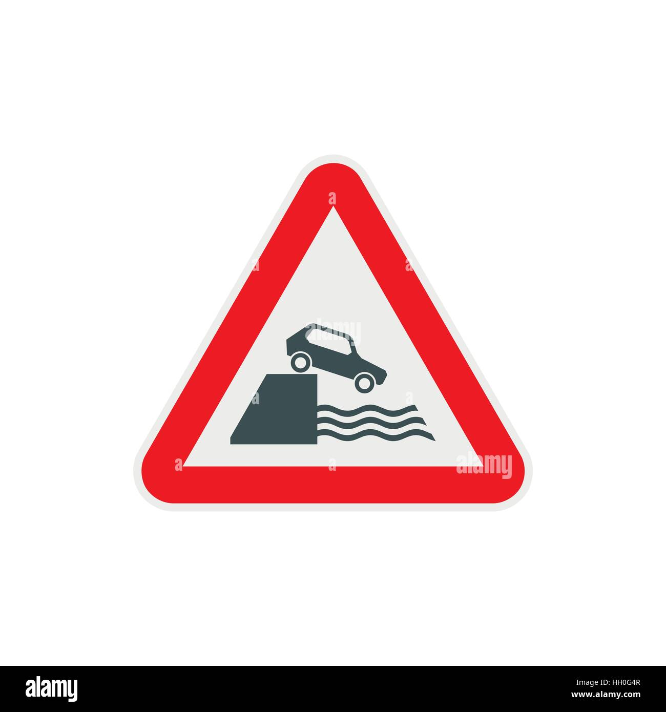 Riverbank traffic sign icon, flat style - Stock Image